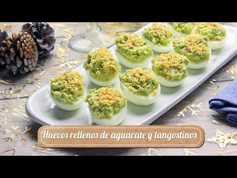 Huevos rellenos de aguacate y langostinos