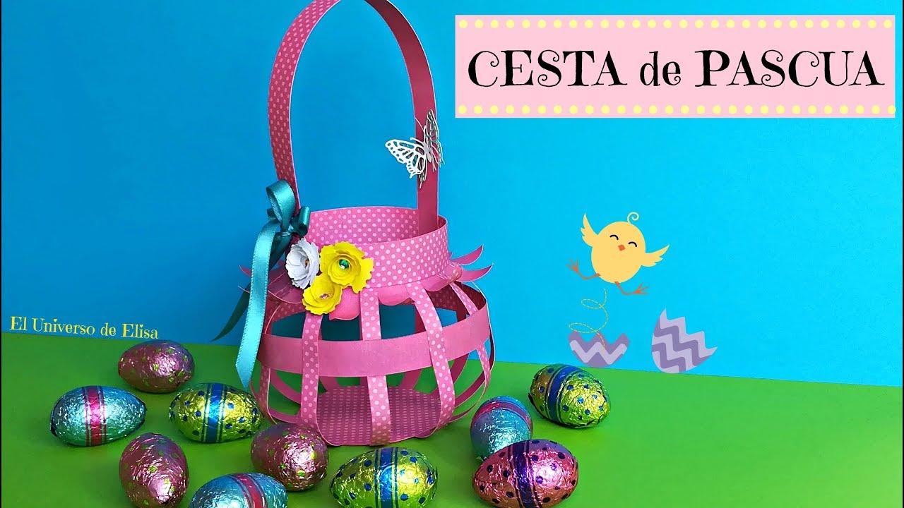 Cesta de Papel Scrapbooking, Manualidades para Pascua, Cesta de Papel para Pascua