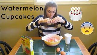 Making Watermelon Birthday Cupcakes