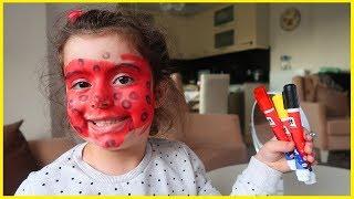 Yüz Boyası ile Yüzümüzü Boyadık ve Mucize Uğur Böceği Olduk, Çok Eğlendik l Çocuk Videosu