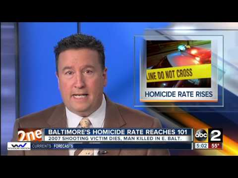 Baltimore City homicide rate surpasses 100 on Monday afternoon