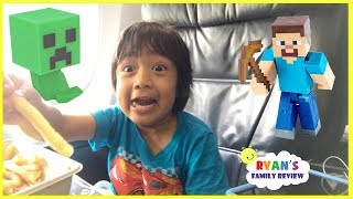 Surprise Toys Opening Challenge Minecraft Kid On the Airplane going home with Ryan's Family Review