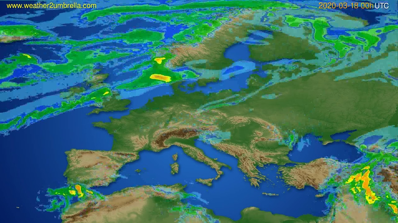 Radar forecast Europe // modelrun: 12h UTC 2020-03-17