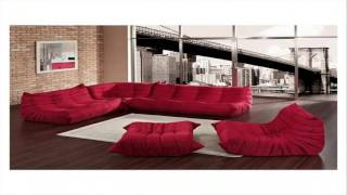 Beautiful Red Leather Sectional Sofa