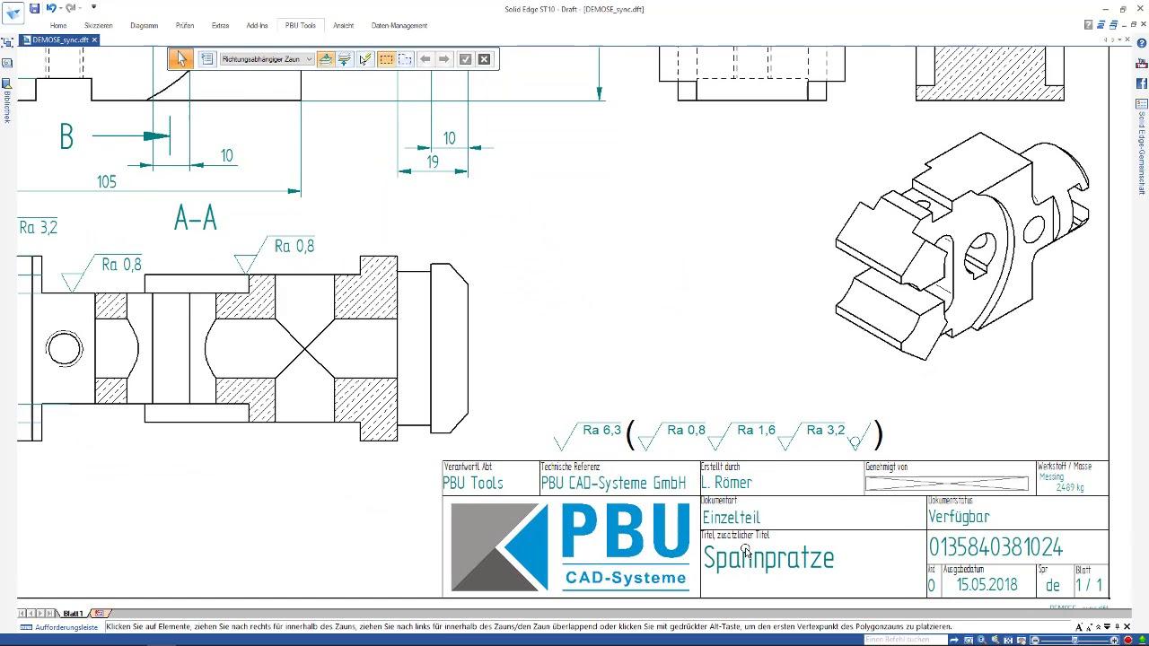 Vorschaubild: PBU-Tool für Solid Edge: Surface Texture Summary