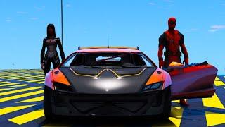 Superhero Cars SpiderMan and Silk Сhallenge GTA V MODS !Штурм Супергероев сложной рампы Кто победит?