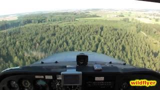 difficult landing over forest on very short runway (Jesenwang) HD 1080p
