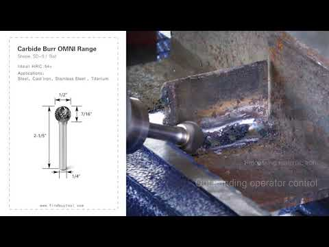 FindBuyTool Carbide Burr SD-5 Bola Forma OMNI Range Head D 1/2 x 7 / 16L, 1/4 de haste, 2-1 / 5 polegadas de comprimento total