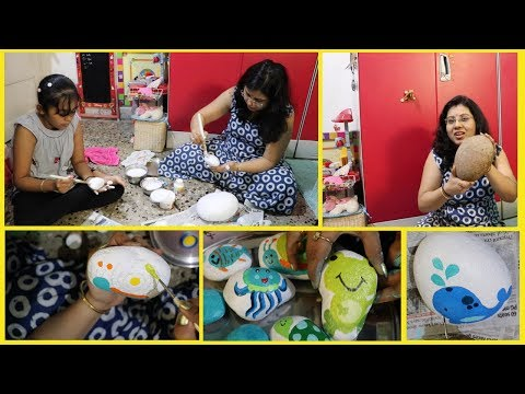 DIY Easy Home Decor Ideas For Balcony | Painted Rock Art | Stone Painting Using Acrylic | Maitreyee