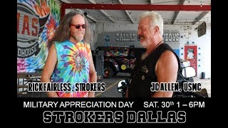 Purple Heart Riders Team Up with Rick Fairless at Strokers for Military Appreciation Day