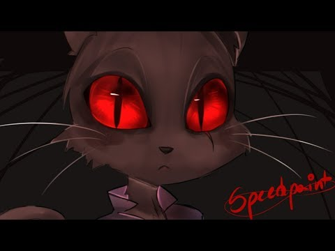 [Speedpaint] Black Cat With Red Eyes