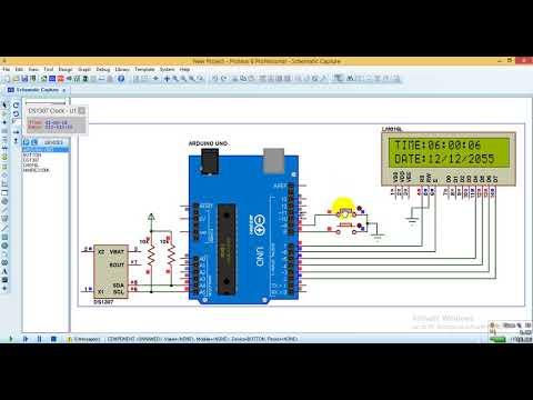 Arduino real time clock with DS1307 - Proteus simulation
