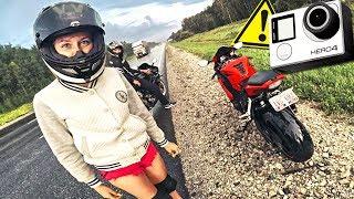 ПОПАЛИ ПОД ДОЖДЬ на мотоцикле С ДЕВУШКОЙ В ШОРТАХ - Чуть не убил GoPro