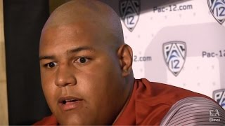USC's Zach Banner talks at Pac-12 media day
