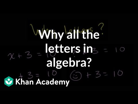 Why all the letters in algebra? (video) Khan Academy