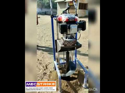 MECSTROKE Brand 4Stroke 196cc Heavy Duty Petrol Operated Earth Auger With Stand Trolley