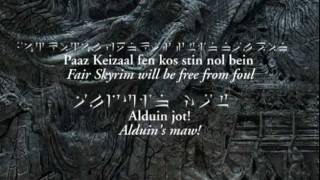 Elder Scrolls V - Sons of Skyrim (extended with Dovah / Draconic lyrics)