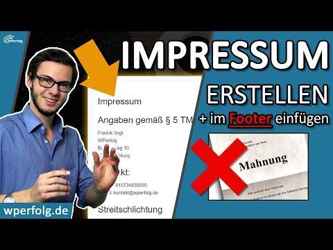 , title : 'ᐅ Impressum erstellen & ABMAHNUNG vermeiden ✅ Für WordPress, Blog... ✅ Impressum im FOOTER einfügen!'