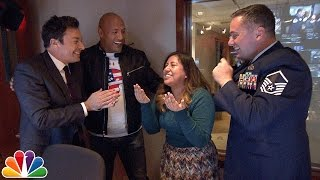 Jimmy and Dwayne Johnson Surprise 'Tonight Show' Staffer with Military Homecoming - Video Youtube