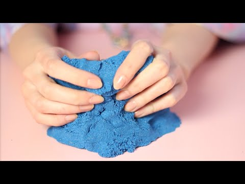 Sparkly Blue Kinetic Sand (ASMR whisper, packaging and sand sounds)