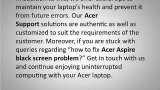 Steps to  Fix Acer aspire black screen problem