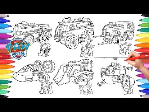 PAW PATROL + VEHICLES Coloring Pages for Kids | How to Color All Paw ...