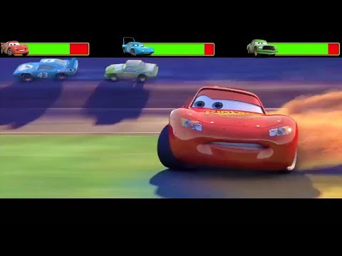 Cars Final & Crash Scene With HealthBars  - Remake Video | Mcqueen No.1