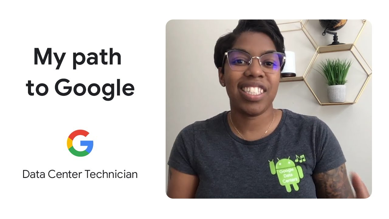 """Graphic with a photo of Joy wearing an Android t-shirt on the right, and on the left, text that reads: """"My Path to Google, Data Center Technician."""""""