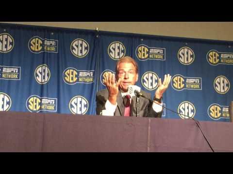 Nick Saban blasts reporter at 2017 SEC Media Days on quarterback controversy