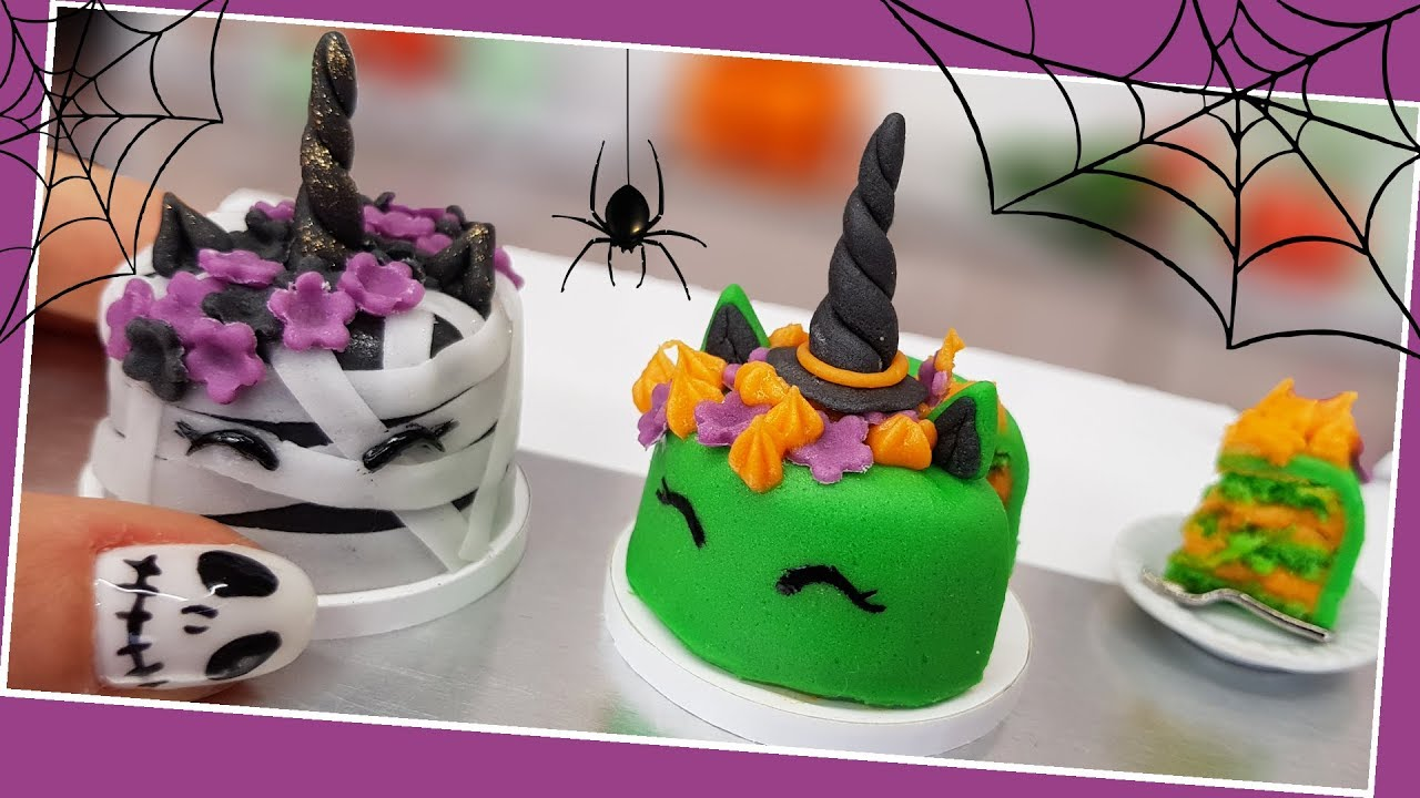 Halloween Unicorn zombie & witch cake