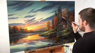 Landscape Painting Time-lapse   Lakeside Memories