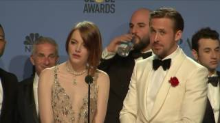 Video Ryan Gosling, Emma Stone & La La Land - Golden Globes 2017 - Full Backstage Interview
