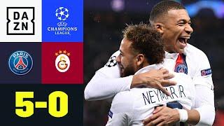 5 Tore, 5 verschiedene Torschützen. Beim 5:0 von Paris Saint-Germain gegen Galatasaray durfte wirklich fast jeder mal. Neymar, Mbappe und Co. besiegeln damit das komplette Ausscheiden von Gala.  ►Sichere dir deinen Gratismonat: https://bit.ly/2MY3pxi ►Alle Infos zur UEFA Champions League: https://bit.ly/2GD8lqf ►Das Programm von DAZN: http://bit.ly/2uFkulD ►DAZN auch auf Facebook: https://bit.ly/2lUGipo  +++ Die besten Fußball Highlights aus allen Wettbewerben auf YouTube +++ ►DAZN UEFA Champions League auf YouTube abonnieren: https://bit.ly/2WL75qD  ►DAZN UEFA Europa League auf YouTube abonnieren: https://bit.ly/2DTc8yb  ►DAZN Bundesliga auf YouTube abonnieren: https://bit.ly/2Daw8dS  ►DAZN Länderspiele auf YouTube abonnieren: https://bit.ly/2XAYNSd ►Goal auf YouTube abonnieren: https://bit.ly/2Bk4H0Y   +++ Die besten Sport Highlights auf YouTube +++ ►DAZN Tennis auf YouTube abonnieren: https://bit.ly/2DblEuK  ►DAZN Darts auf YouTube abonnieren: https://bit.ly/2ScVbqU    ►SPOX auf YouTube abonnieren: https://bit.ly/2MPaQqI   Erlebe tausende Sportevents in HD-Qualität auf allen Geräten. Auf DAZN gibt's europäischen Top-Fußball mit UEFA Champions League, UEFA Europa League, Premier League, Bundesliga-Highlights, La Liga, der Serie A und Ligue 1 sowie den besten US-Sport aus NFL, NBA, MLB und NHL. Dazu: Fight Sports, Darts, Tennis, Hockey und vieles mehr - wann und wo du willst.   ERLEBE DEINEN SPORT LIVE UND AUF ABRUF. AUF ALLEN GERÄTEN.   +++ Über DAZN +++   DAZN ist ein Livesport-Streamingdienst, der es Fans erlaubt, Sport so zu erleben, wie sie es möchten. Egal ob live zu Hause, unterwegs, zeitversetzt oder im Rückblick, DAZN bietet über 8.000 Sportübertragungen pro Jahr und beinhaltet damit das umfangreichste Sportangebot, das es jemals bei einem einzelnen Anbieter gegeben hat.   DAZN bietet einen Gratismonat, kostet danach 11,99 EUR monatlich und kann jederzeit monatlich gekündigt werden.   Registriere dich direkt und sicher dir deinen Gratismonat: https://bit.l