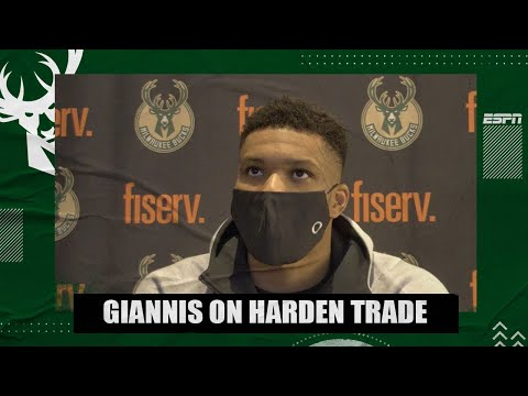 Giannis Antetokounmpo reacts to James Harden being traded to the Nets   NBA on ESPN