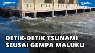 Video Detik-detik Tsunami Kecil seusai Gempa Guncang Maluku Tengah, Ketinggiannya 0,5 Meter