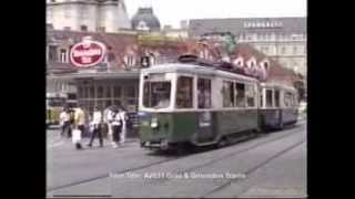 preview picture of video 'Graz trams meet at Jakominiplatz in June 1987'