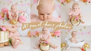My Top 10 MUST-HAVE Photos To Take During A CAKE SMASH Photoshoot - Baby Photography BTS
