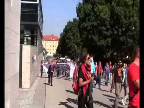 Protest vor dem Thüringer Landtag gegen den Flüchtlingsmarsch am 18.September 2012