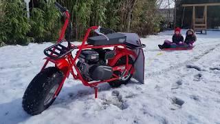 New Colman Mini Bike Sledding in the Snow 1st Time