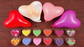 Making Fluffy Slime With Funny Hearts Balloons - Most Satisfying Slime ASMR Video