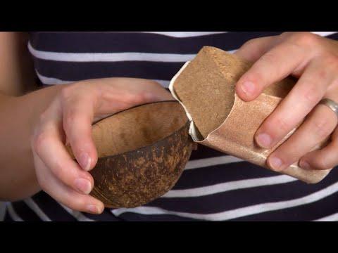 Kokosnuss Schale selbermachen   DIY Deko Kokosnussschale