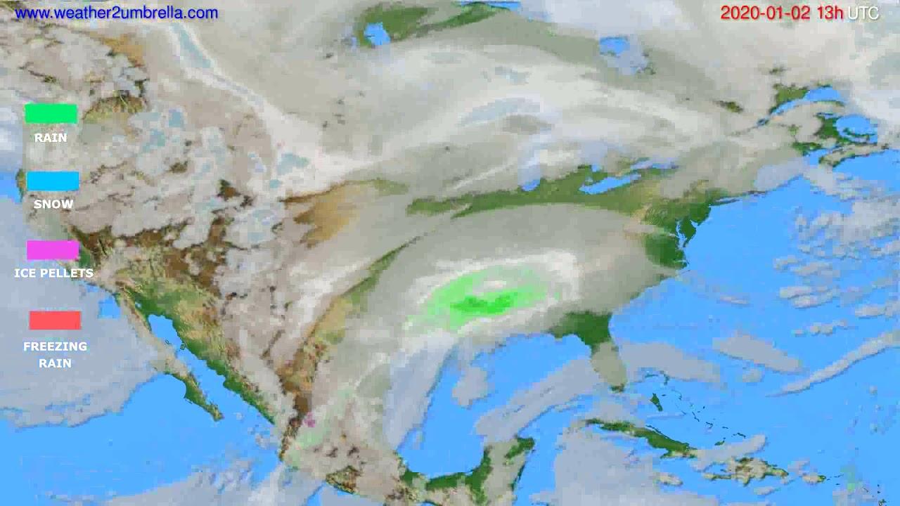 Precipitation forecast USA & Canada // modelrun: 12h UTC 2020-01-01