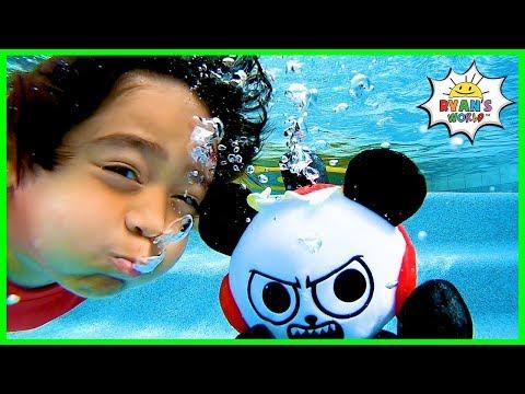 Ryan Pretend Play Swimming Underwater Pool Adventure!!!!