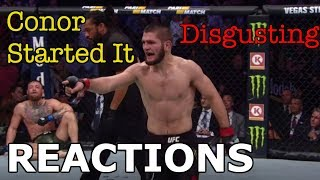 MMA Reacts to Khabib Nurmagomedov Defeating Conor McGregor   Post-Fight Brawl - UFC 229