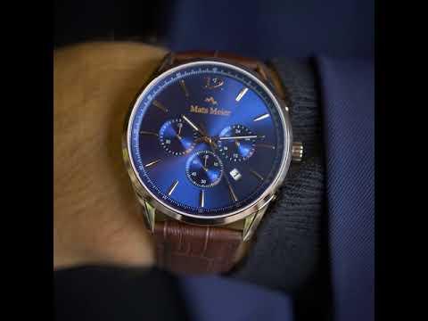 Mats Meier Grand Cornier chronograaf herenhorloge blauw / rosé goudkleurig / bruin