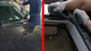 Как Быстро и Качественно Снять Лобовое Стекло на Автомобиле / Снятие лобового стекла на BMW