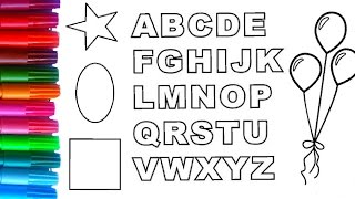 learning colors for children with coloring pages coloring book of shapesabc alphabet and