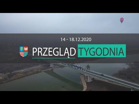 Plansza z napisem Przegląd tygodnia od 14 do 18 grudnia 2020 roku. W tle most na Wiśle - widok z lotu ptaka
