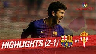 Resumen de FC Barcelona B vs Sporting de Gijón (2-1)
