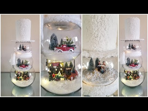 DIY | 3 TIER GLASS SNOWMAN LIGHT SCENERY | QUICK AND EASY DIY 2018